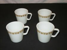4 Vintage Pyrex Butterfly Gold Coffee Mugs Cups (Z500)