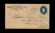 U294 envelope w/ AMHERST MASS 1894 cancel ALUMNI MAC College Cornercard