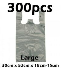 300pcs Plastic Singlet Shopping Carry Checkout Bag Large 30cmx18cmx52cm Grey