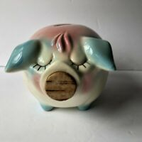 Vintage Hull Pottery Corky Pig Coin Bank 1957 USA Pink and Blue Cork Nose USA