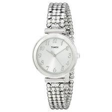 Timex T2P204, Women's Silvertone Bracelet Beaded Strap Watch,  T2P2049J
