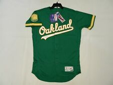 Authentic Oakland A's Alternate GREEN Flex Base Jersey Athletics w/50th Patch 56
