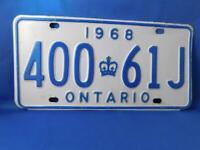 ONTARIO LICENSE PLATE 1968 400 61J VINTAGE CROWN CANADA  CAR GARAGE SHOP SIGN