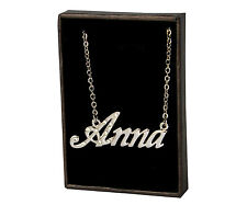 "Name Necklace ""ANNA"" - 18ct White Gold Plated - Anniversary Jewellery Birthday"