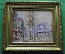 c1950 Busy Paris Street  : Original Modernist Oil Painting by Caroline Burnett