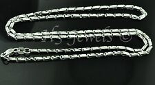 18k solid white gold diamond cut box chain necklace  #3539 16 inch 6.6 grams