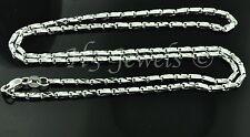 18k solid white gold diamond cut box chain necklace  #3539 16 inch 6.6 grams