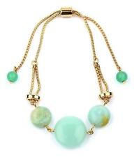 G5 Semi Precious Stone BRACELET Ball Link Pull Tie Gold Green Amazonite
