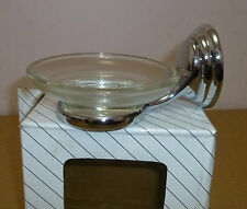 Soap Dish Holder with Glass Soap Dish  - Polished Chrome - NEW