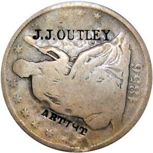 1856 St. Louis Missouri Counterstamp Half Dollar Outley Daguerreian Photographer