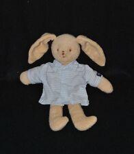 Peluche doudou lapin beige TROUSSELIER chemise bleu à carreaux 22/31 cm TTBE
