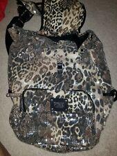Victoria's Secret VS Pink Leopard Print Sequin Backpack Bag Great Condition!