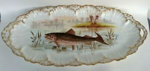 Antique Limoges France LARGE FISH PLATTER Hand Painted Scalloped Edge Heavy Gold