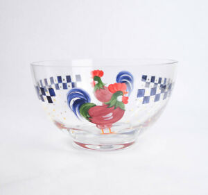 Hand Painted Country Rooster Large Glass Mixing Serving Bowl Salad Polka Dot