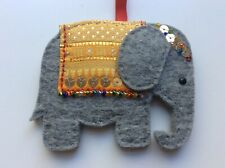 Handmade felt Christmas tree decoration - Elephant with sequins and beads
