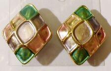 boucles d'oreilles rétro bijou vintage clips rectangle résine de couleur * 3741