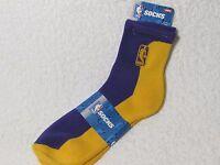 NEW NBA BASKETBALL Logoman Player Crew Socks Mens Large Size DARK PURPLE & GOLD