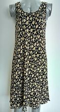 JIGSAW slip on dress size M --BRAND NEW-- 100% Rayon knee length black floral