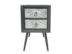 Grey Wood & Mirrored Bedside Table 2 Drawer Glass Cabinet Nightstand Bedroom