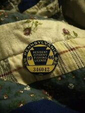 Vintage 1946 fishing license PA Pennsylvania Resident Button Pin WW2 era