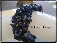 Lapis Lazuli Gemstone Cuff Bracelet Stretchy