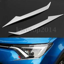 2Pcs ABS Chrome Headlight Front Lamp Eyelid Trim For Toyota RAV4 2016 - 2017