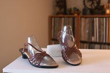 Sofft 1212010 Brown Leather 1 3/4 Inch Heel Slingbacks Sandals Size 9 M