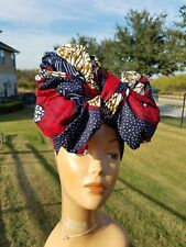 Navy Blue And RedHead wrap;Navy African Headwrap;Ankara Headwrap;African Fabric