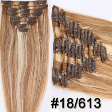 7pcs Black Brown Blonde Clip In Remy 100% Human Hair Extensions DIY FULL HEAD US