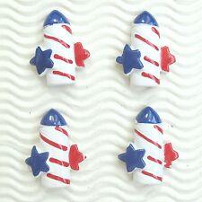 "US SELLER - 10pc X 1.25"" Patriotic July 4th Rocket Firework Resin Flatback SB625"