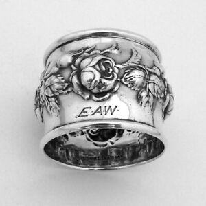 Art Nouveau Napkin Ring Roses Simon Brothers Sterling Silver Mono EAW