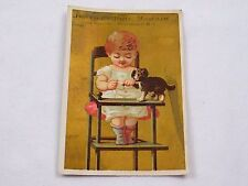 Victorian Trade Card Americus Mills Mustard Adorable Baby Puppy Highchair F45