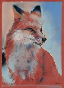 original drawing 25 x 35 cm 207GZ art Pastel modern animal fox Signed 2021