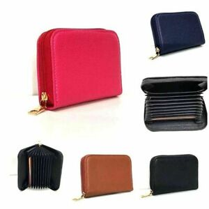 Credit Card ID Holder Leather Pouch Multi Pocket Wallet Zip Unisex Card Holders