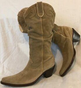 L.Lambertazzi Grey Mid Calf Suede Boots Size 7 (356QQ)