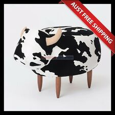 Moo Cowhide Ottoman_Aussie Station, Foot Stool, Foot Rest, Chair, Black & White