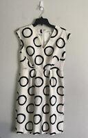 Banana Republic Women's Silk Off White Circle Design Sleeveless Dress Size 4