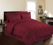 8 Piece Bed In a Bag Hotel Dobby Embossed Comforter Sheet set (Queen, Burgundy)