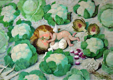 postcard ANGELS ON CABBAGE FIELD Russian / English captions publ. in Ukraine