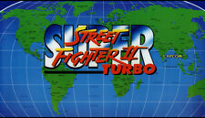 "Super Street Fighter II Turbo - Dynamo Big Blue Arcade Marquee - 27""x15.5"""
