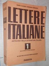 LETTERE ITALIANE Dalle Origini al Quattrocento Mario Oliveri Terenzio Sarasso di