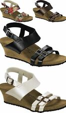 PAPILLIO BIRKENSTOCK ELLEN WOMEN'S SANDALS WEDGE PLATFORMS WHITE TOFFEE BLACK