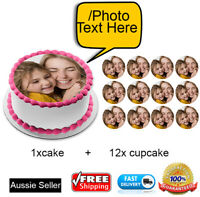 🏅 Set of Mother's day Edible 1x Cake & 12 Cupcake Toppers Wafer Paper GIfts