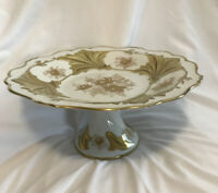 Large Gorgeous Porcelain Echt Weimar Gold Jutta 328 34 Footed Cake Plate.