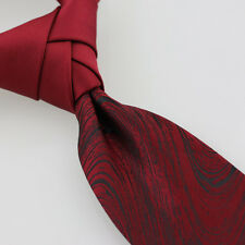 COACHELLA Tie Burguny Knot Contrast Black Streamers Necktie Unique Patchwork Tie