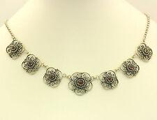 Collier in aus 835er Silber mit Granat Granatcollier Trachten Ketten Silberkette
