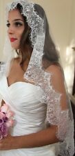 "White 1 Tier Mantilla Drop Veil 60"" 4"" Eyelash Lace Waltz Fingertip Wedding 13FF"