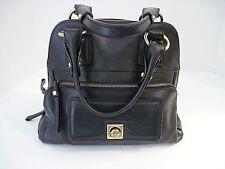 BANANA REPUBLIC Large Black Cow Leather Tote Carryall HandBag Brass Hardware