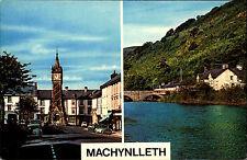 Machynlleth Wales Zweibildkarte ~1960/70 Clock Tower River Dovey Pen y Bont
