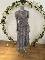 Influence Maxi Dress Size UK 10 Black Ditsy Floral Tiered Layered Dress GE86